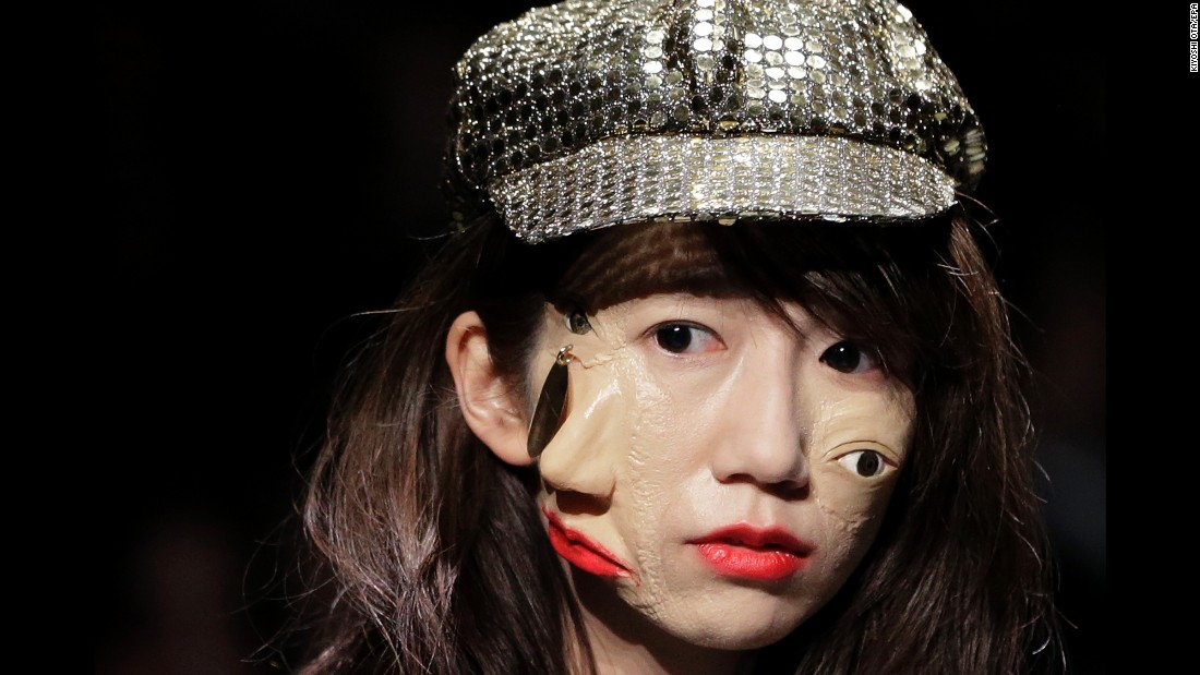 <strong>March 16:</strong> A model presents a creation by designer Yoshikazu Yamagata during Tokyo Fashion Week.