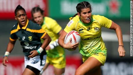DUBAI, UNITED ARAB EMIRATES - DECEMBER 01:  Charlotte Caslick of Australia in action during day one of the Emirates Dubai Rugby Sevens - HSBC World Rugby Women's Sevens Series on December 1, 2016 in Dubai, United Arab Emirates.  (Photo by Francois Nel/Getty Images)
