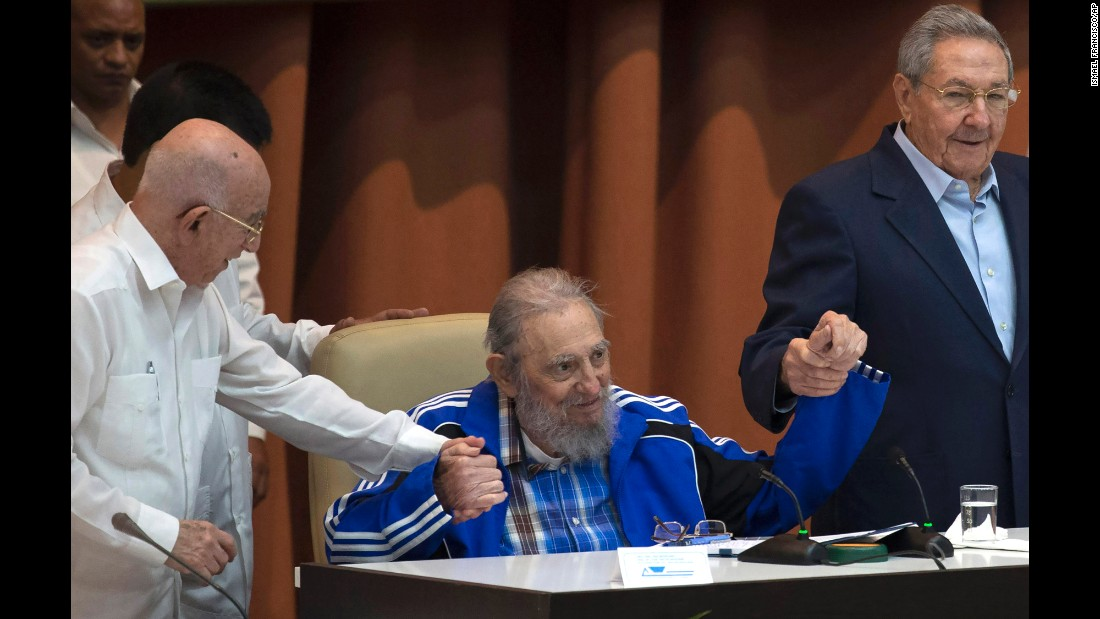 "<strong>April 19:</strong> Former Cuban leader Fidel Castro, center, attends the closing ceremonies of a Cuban Communist Party gathering in Havana, Cuba. Castro formally stepped down in 2008, and his brother Raul, right, is now President. <a href=""http://www.cnn.com/2015/07/05/world/gallery/fidel-castro/index.html"" target=""_blank"">Fidel Castro</a> died in November at age 90."