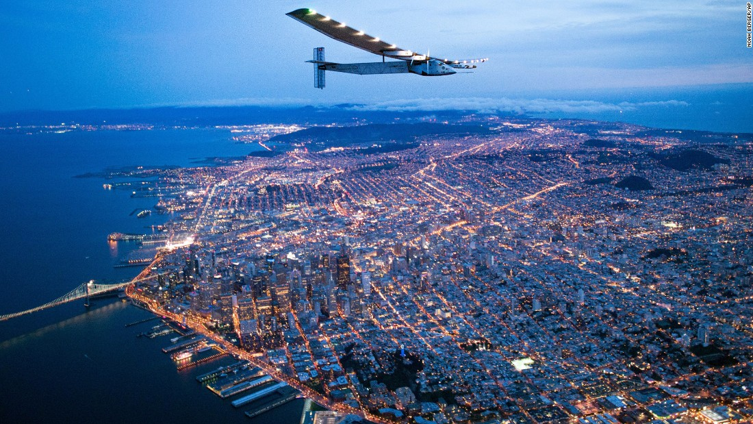 "<strong>April 23: </strong>The Solar Impulse 2 flies over San Francisco. The solar-powered airplane, flying around the world without a single drop of fuel, <a href=""http://www.cnn.com/2016/04/24/travel/solar-impulse-2-plane-california/index.html"" target=""_blank"">landed in California</a> after a two-and-a-half-day flight across the Pacific Ocean."