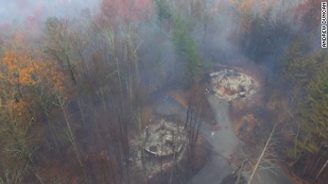 This image, taken Wednesday by a camera from an aerial drone operated by Gatlinburg cabin owner Andrew Duncan, shows cabins destroyed by the Gatlinburg-area wildfire.