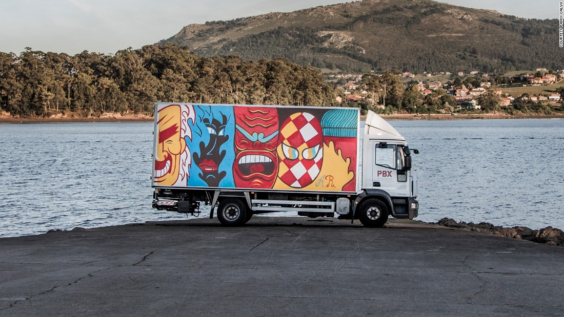 Andi Rivas painted a series of shapes and faces on his truck. The idea was to create an image that could be taken in and understood quickly.