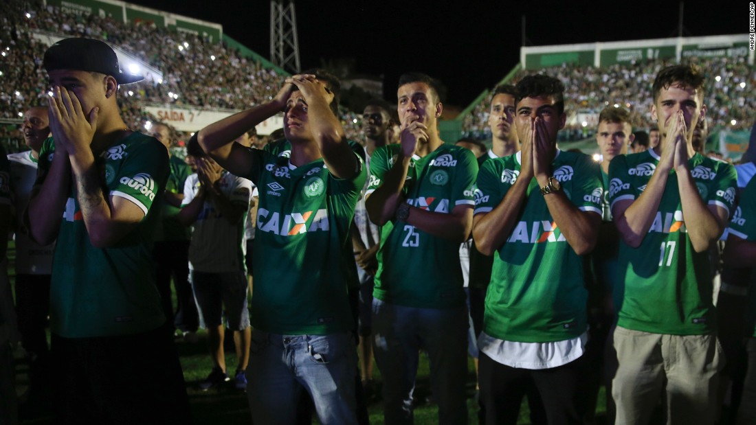 "Players from the Brazilian soccer team Chapecoense mourn their fallen teammates <a href=""http://www.cnn.com/2016/11/30/world/gallery/colombia-plane-crash-reaction/index.html"" target=""_blank"">during a tribute</a> at the team's stadium in Chapeco, Brazil, on Wednesday, November 30. A charter airplane carrying 77 people, including most players from Chapecoense, <a href=""http://www.cnn.com/2016/11/29/americas/gallery/colombia-plane-crash-site/index.html"" target=""_blank"">crashed near Rionegro, Colombia,</a> on Monday, November 28. Seventy-one people were killed, officials said. Six survived: three players, two crew members and one journalist."