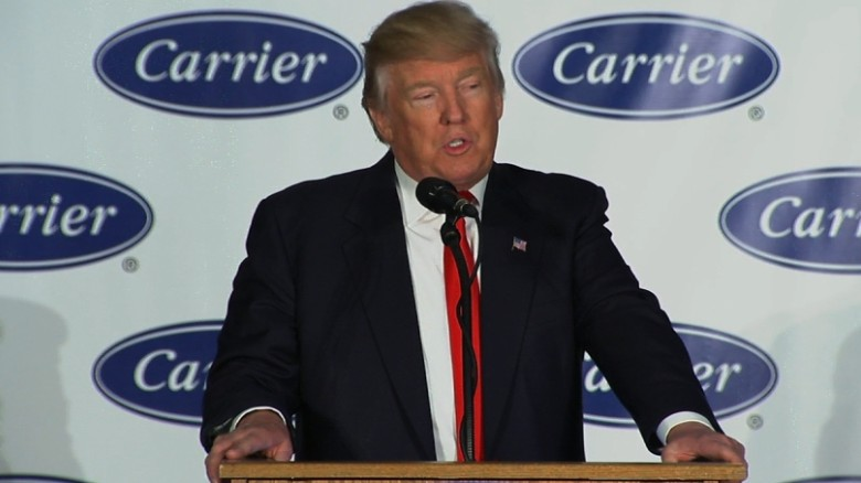 Trump touts Carrier deal at Indianapolis plant