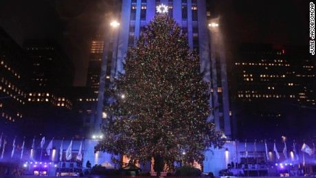 The Rockefeller Center Christmas tree stands lit at Rockefeller Center during the 84th annual Rockefeller Center Christmas tree lighting ceremony, Wednesday, Nov. 30, 2016, in New York. The 94-foot tall Norway spruce is covered with 50,000 multi-colored LED lights. (AP Photo/Julie Jacobson)