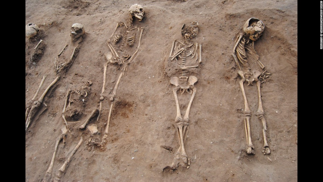 A handout picture released by the University of Sheffield on Sunday, November 30, shows a mass grave of Black Death victims from the 1300s. The grave was unearthed last year at Thornton Abbey near North Killingholme, England. The Black Death -- one of the most deadly pandemics in human history -- is estimated to have wiped out up to 60% of Europe's population in the 14th century.