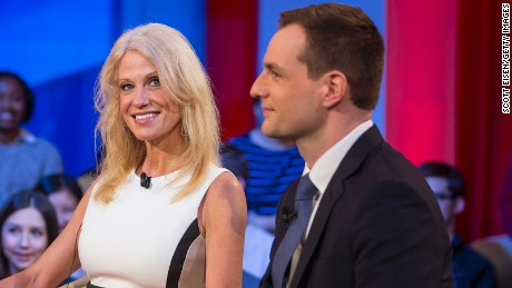 "Trump Campaign Manager Kellyanne Conway and Clinton Campaign Manager Robby Mook speak during the event titled ""War Stories: Inside Campaign 2016"" at the Harvard Institute of Politics Forum on December 1, 2016 in Cambridge, Massachusetts."