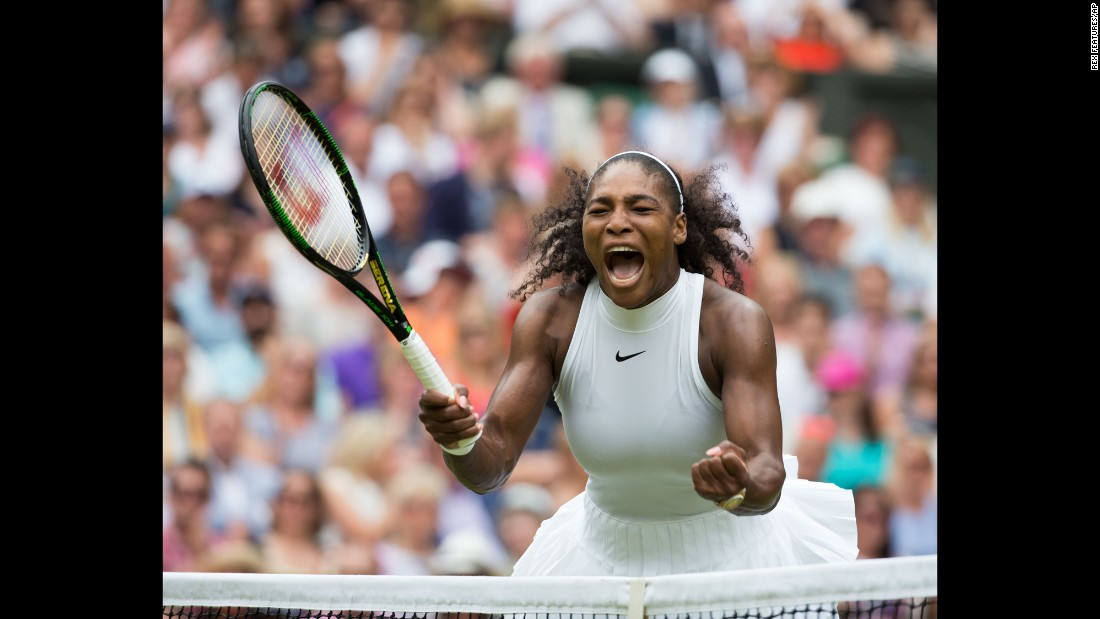 "Serena Williams celebrates her seventh Wimbledon title on Saturday, July 9. The American defeated Germany's Angelique Kerber <a href=""http://edition.cnn.com/2016/07/09/tennis/wimbledon-serena-williams-angelique-kerber-tennis/"" target=""_blank"">for her 22nd Grand Slam </a>-- tying Steffi Graf for the most in the Open era."