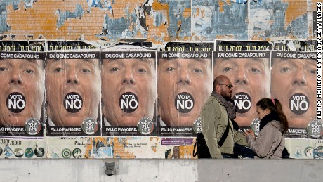 "People walk past posters for far-right political movement CasaPound, which is calling for a vote ""No"" in Italy's constitutional referendum."