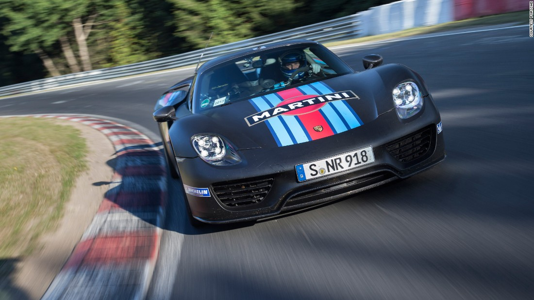 The Porsche 918 Spyder can travel short distances on electricity alone, or use that power to boost its V8 engine's performance.