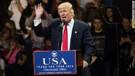 President-elect Donald Trump speaks during a stop at U.S. Bank Arena on December 1, 2016 in Cincinnati, Ohio.