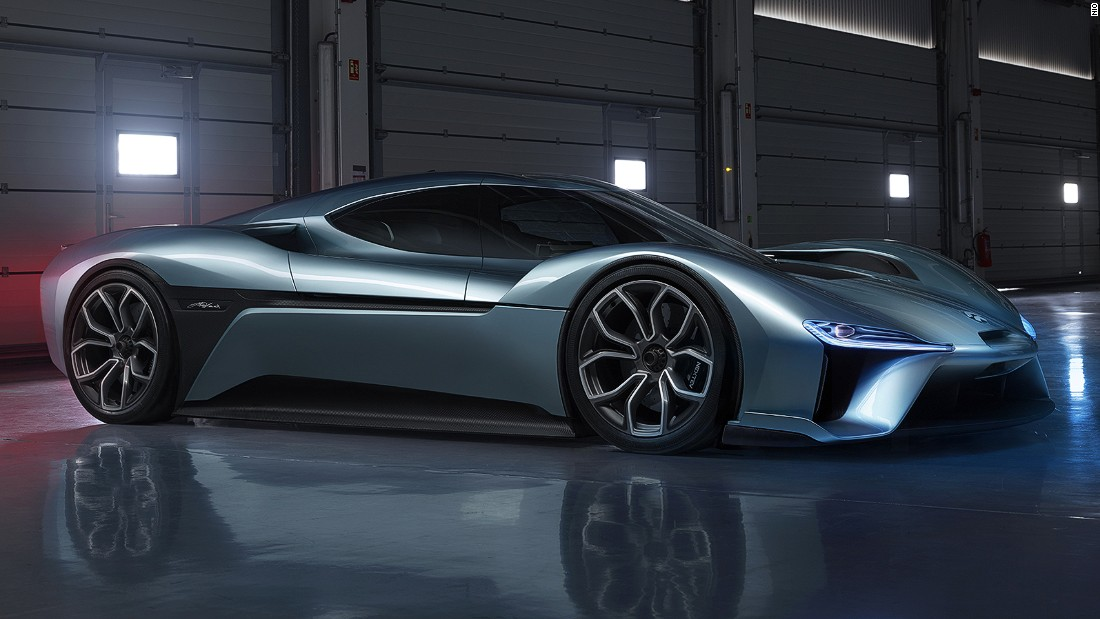The NIO EP9 can swap its batteries quickly; a full recharge can take as little as 45 minutes, giving 265 miles of range.