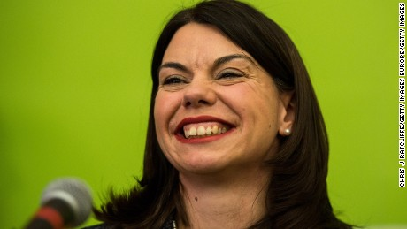 Liberal Democrat candidate Sarah Olney speaks onstage after winning the Richmond Park by-election in London.