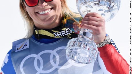 ST. MORITZ, SWITZERLAND - MARCH 17: (FRANCE OUT) Lara Gut of Switzerland wins the globe in the overall standings during the Audi FIS Alpine Ski World Cup Finals Men's and Women's Super-G on March 17, 2016 in St. Moritz, Switzerland. (Photo by Alain Grosclaude/Agence Zoom/Getty Images)