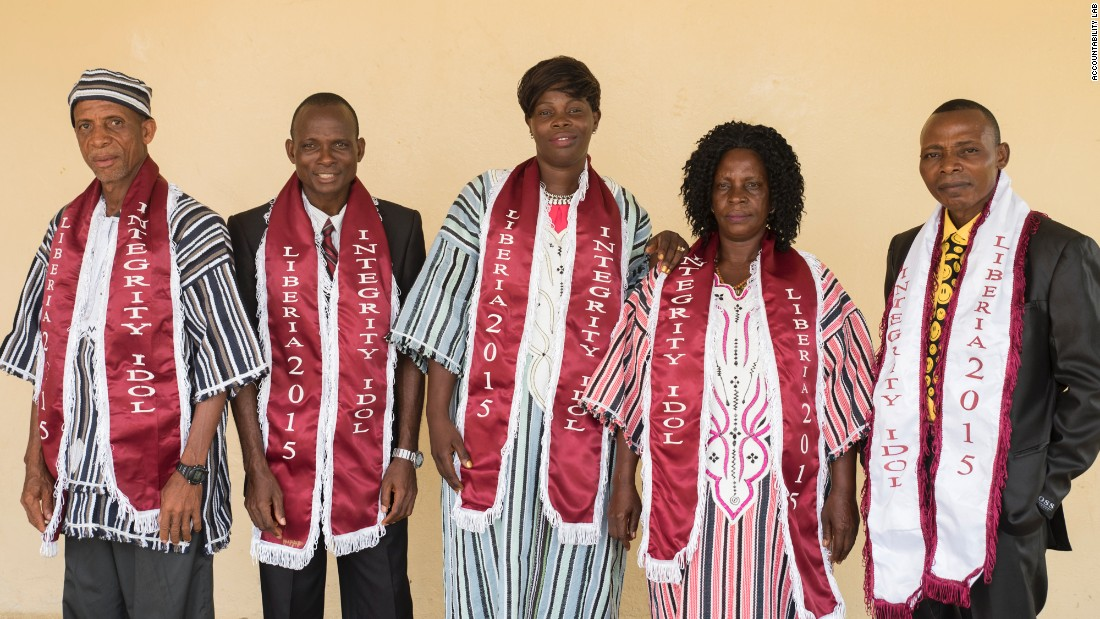 The five finalists of Integrity Idol Liberia 2015, a reality show that celebrates honesty in public service and has tens of thousands voting for their favored nominees.
