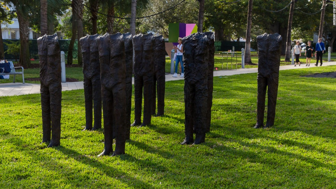 "Magdalena Abakanowicz's ominous headless ""10 Standing Figures"" stand guard on The Bass' lawn."