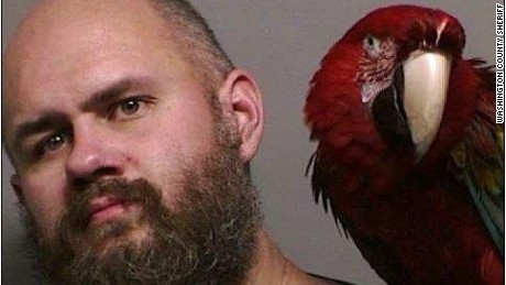 "Craig Buckner appeared in court with his companion parrot, ""Bird."""