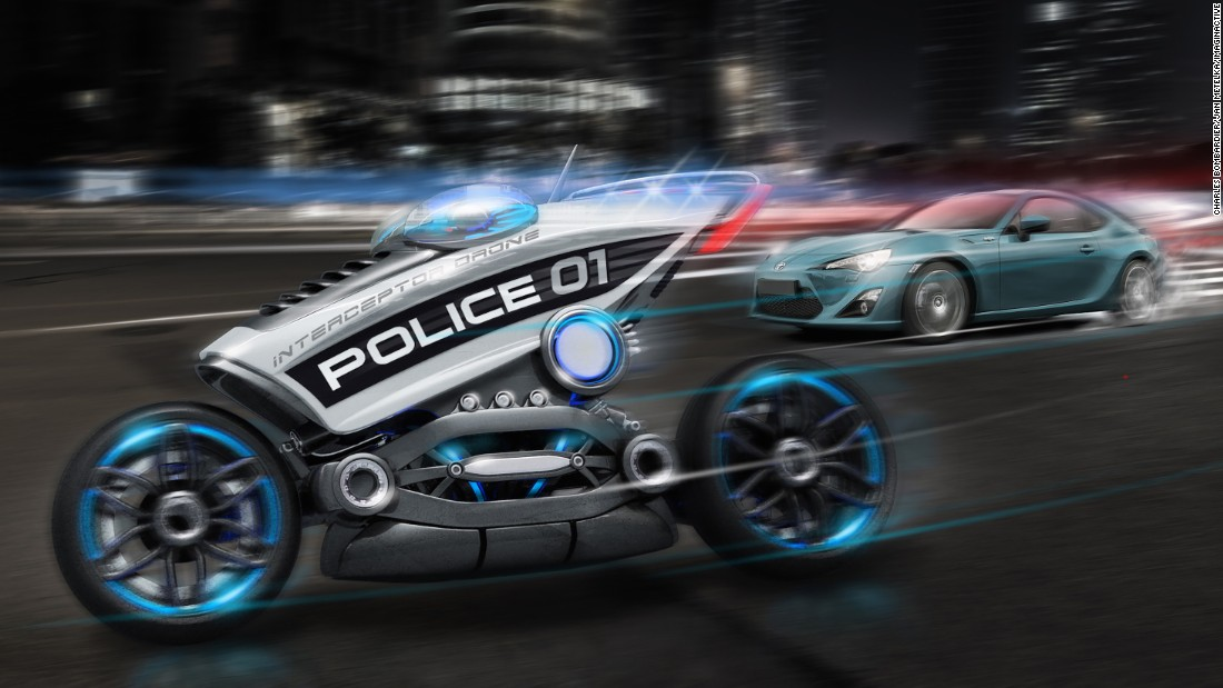The Interceptor is a superbike that is part of a future of driverless police drones, imagined by conceptual designer Charles Bombardier. One single police officer could supervise five Interceptor units, which would monitor cities 24/7 while issuing tickets to any offenders via mobile apps.