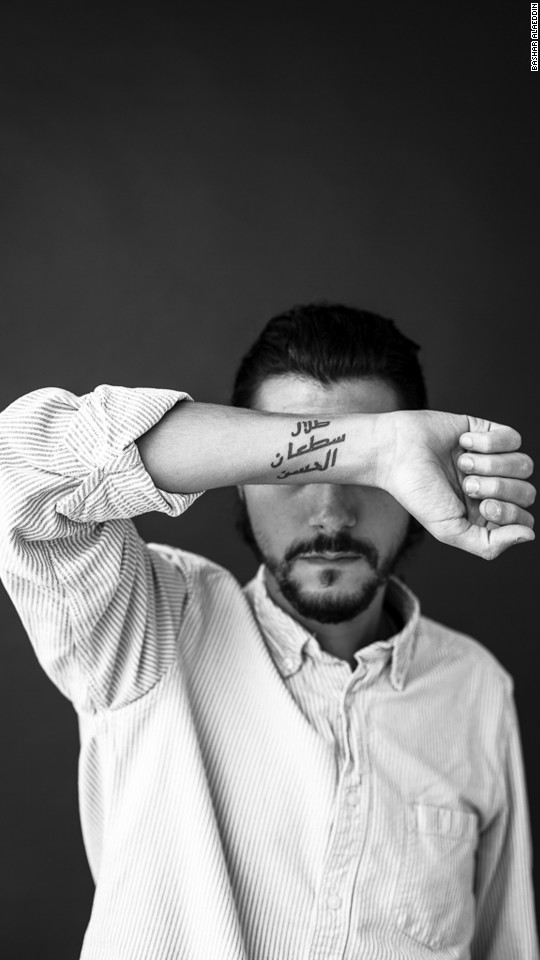 Alaeddin says it's most common to see tattoos that have a special meaning to the wearer. For instance, in this image, the man chose to tattoo his arm with the name of his father, who passed away in 2003.