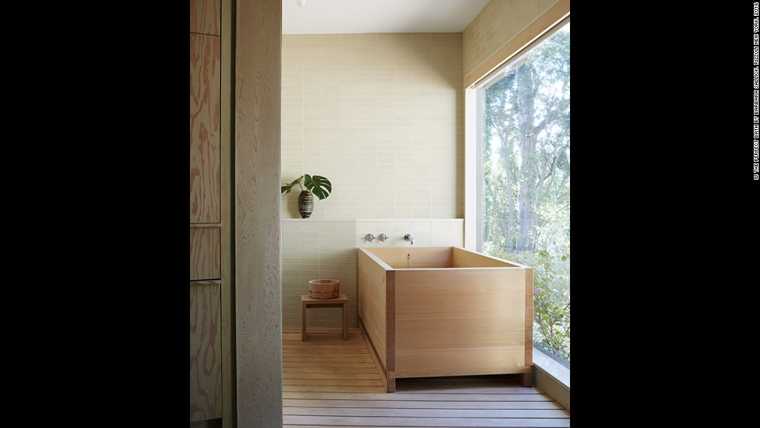 "Pamela Shamshiri is inspired by nature with her wooden bathroom designs. ""In my own home, we have a Japanese bath that demands nearly as much attention as a child. But it's worth it, and I believe fine woods, such as hinoki, a Japanese cypress, deliver healing properties that other materials do not,"" she says."