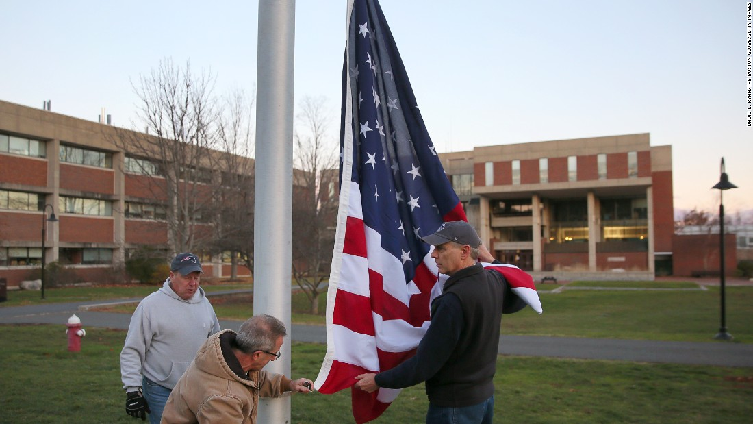 "The <a href=""http://www.cnn.com/2016/12/02/us/hampshire-college-american-flag-trnd/"" target=""_blank"">US flag is raised again</a> on December 2, at Hampshire College three weeks after it was removed from the Amherst, Massachusetts, campus. The flag was returned after an onslaught of calls, emails, and protests from people angered by its removal days after it was <a href=""http://www.cnn.com/2016/11/29/politics/donald-trump-flag-burning-penalty-proposal/index.html"" target=""_blank"">set on fire in an apparent protest</a> of the election of Donald Trump as president."