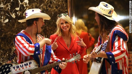 NEW YORK, NY - NOVEMBER 28:  Donald Trump aide Kellyanne Conway speaks with performers at Trump Tower on November 28, 2016 in New York City. President-elect Donald Trump and his transition team are in the process of filling cabinet and other high level positions for the new administration.  (Photo by Spencer Platt/Getty Images)