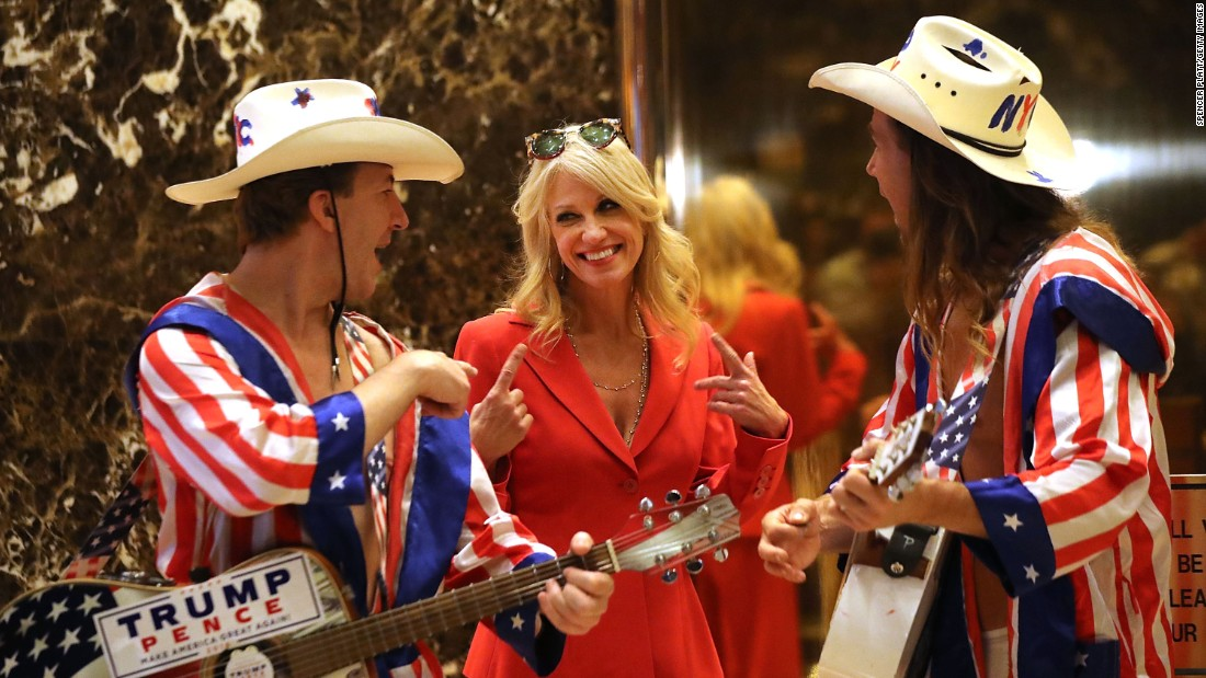 Donald Trump aide Kellyanne Conway speaks with performers at Trump Tower on November 28, in New York City.