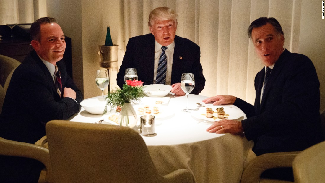 "President-elect Donald Trump, center, <a href=""http://www.cnn.com/2016/11/30/politics/donald-trump-transition-mitt-romney/index.html"" target=""_blank"">eats dinner with Mitt Romney</a>, right, and Trum's Chief of Staff pick Reince Priebus at Jean-Georges restaurant on November 29 in New York. Romney's name has been floated as a potential Secretary of State pick."
