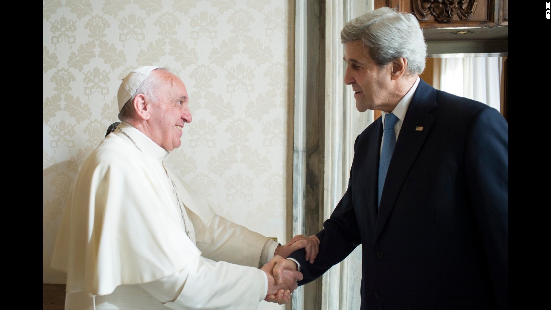 Pope Francis meets US Secretary of State John Kerry at the Vatican on December 2. Kerry is on a two day visit to Rome for bilateral meetings and to participate in the Rome Mediterranean Dialogues.