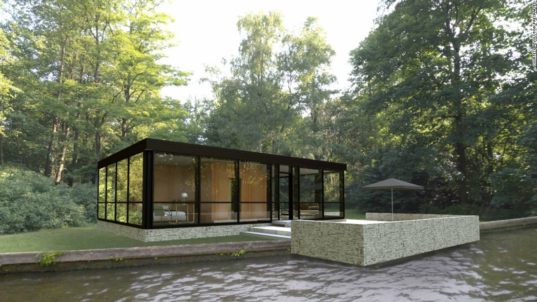 "The ""Modular Glass House"" was inspired by the original Glass House, designed seventy years ago by Philip Johnson as his home in Connecticut."