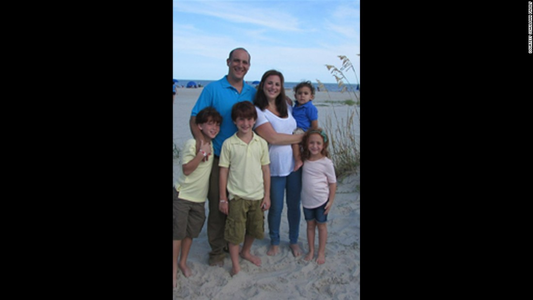 Monica Schulman with her husband and four children on vacation in August 2014. In 2015 she was diagnosed with Parkinson's disease.