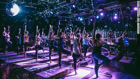 A yoga class at London's Ministry of Sound.