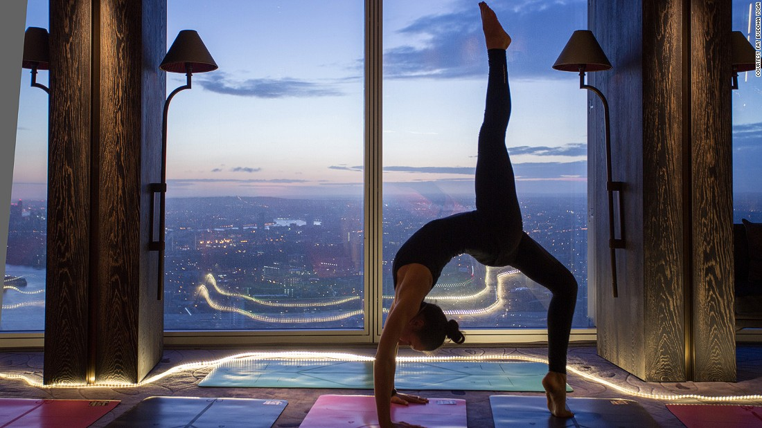 Fat Buddha Yoga runs pop-up classes at the Shangri-La Hotel inside The Shard in London.