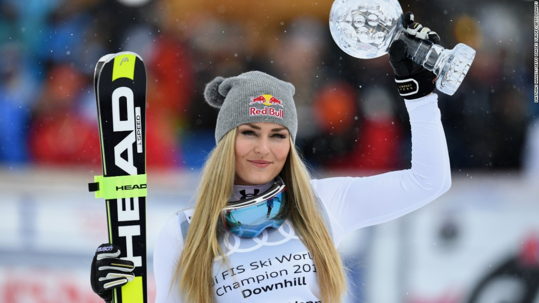 Lindsey Vonn clinched her eighth World Cup downhill title for a record 20th crystal globe in 2016 despite missing the end of the season to recover from a hairline fracture of her left knee.