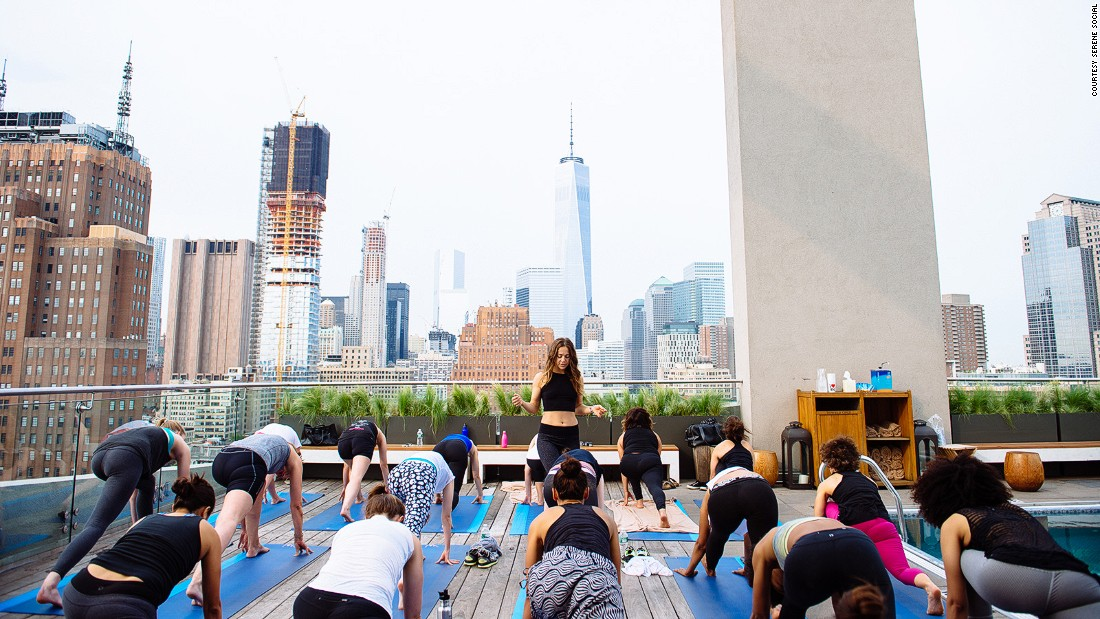"Also in summertime, the <a href=""http://www.jameshotels.com/new-york"" target=""_blank"">James Hotel</a> in New York plays host to Serene Social's rooftop yoga."