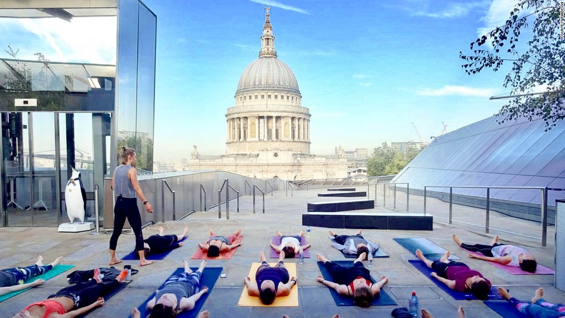 "At <a href=""http://www.madisonlondon.net"" target=""_blank"">Madison</a>, a rooftop restaurant in east London, you can enjoy summer classes overlooking St Paul's Cathedral in full lotus position."