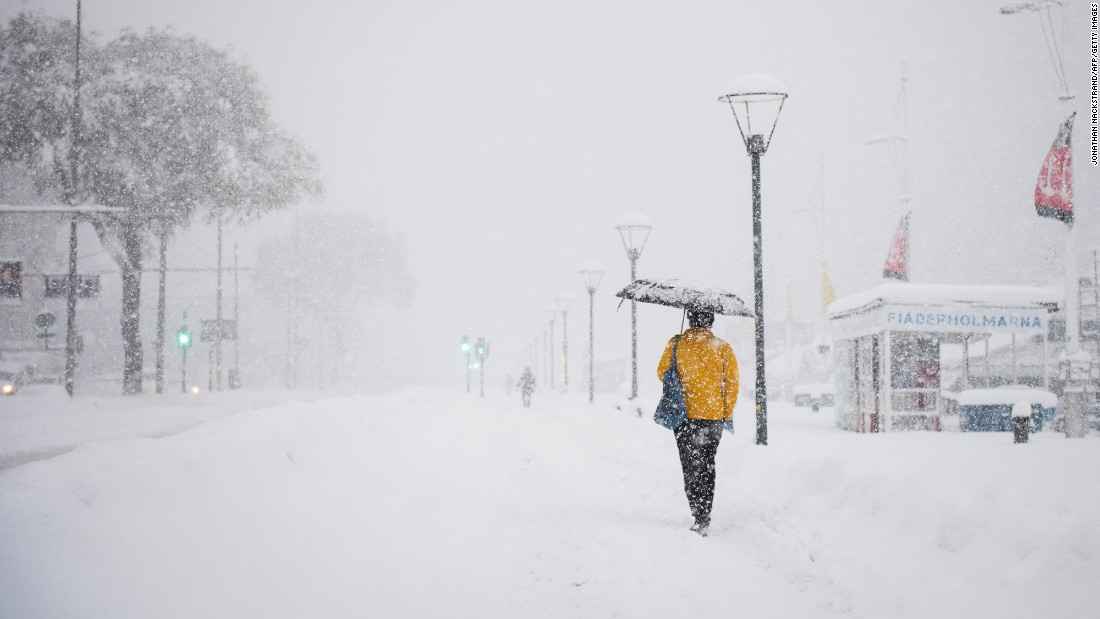 Stockholm, Sweden, faces heavy snowfall on November 9.