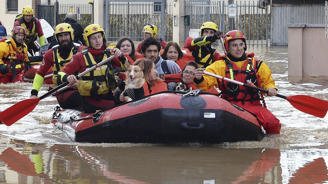 Residents of Moncalieri, Italy, are evacuated after flooding by the Po River on November 25.