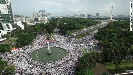 Thousands of Indonesians converged on central Jakarta to demand Ahok's ouster.