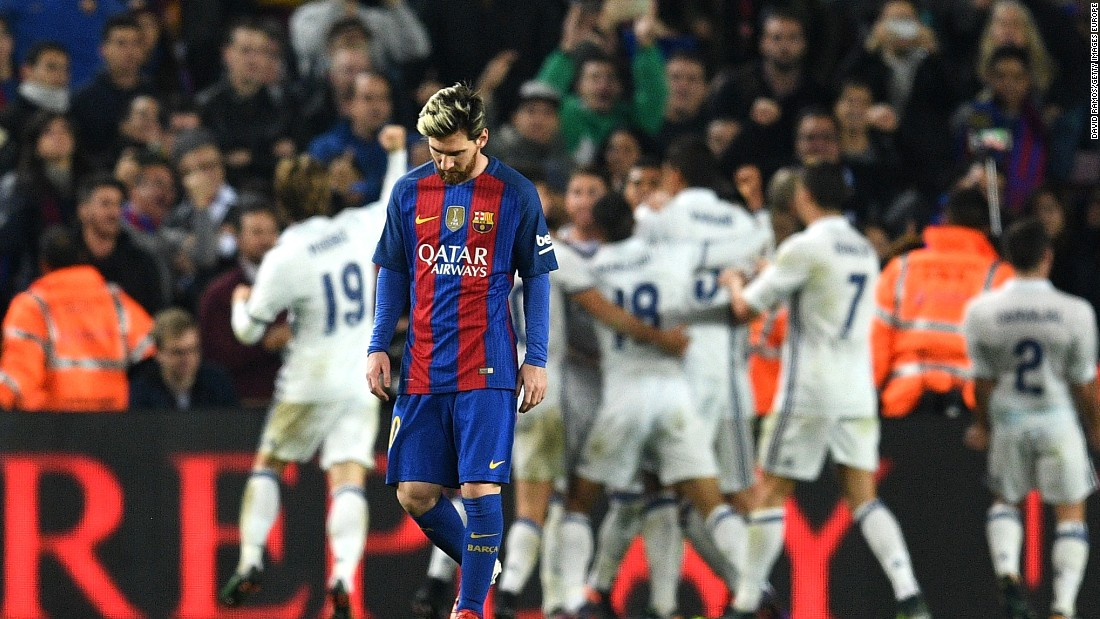 Lionel Messi is crestfallen after Real Madrid equalizes late in the Camp Nou.