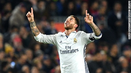 Sergio Ramos celebrates his late leveler for Real Madrid in the 1-1 El Clasico draw with arch-rival Barcelona.