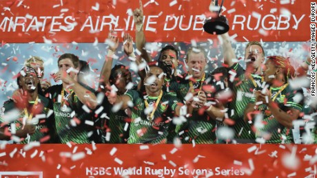 South Africa players celebrate after winning the Dubai Sevens with a 26-14 win over Fiji.