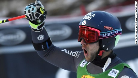 France's Mathieu Faivre was securing his maiden World Cup victory in the giant slalom at Val d'Isere.