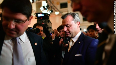 Norbert Hofer, presidential candidate for the right-wing populist Austria Freedom Party (FPOe), arrives after losing in the election at the Hofburg following Austrian presidential elections on December 4, in Vienna, Austria. I