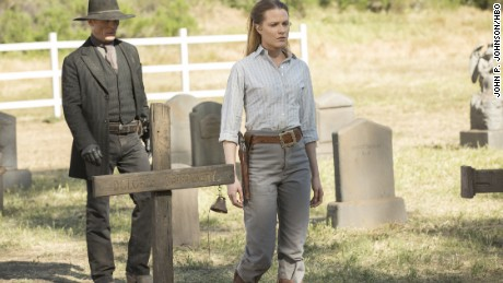 "Ed Harris, Evan Rachel Wood in HBO's ""Westworld"""