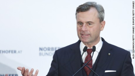 VIENNA, AUSTRIA - DECEMBER 02: Norbert Hofer, presidential candidate for the right-wing populist Austria Freedom Party (FPOe), speaks to supporters at his final election campaign rally ahead of the Austrian presidential elections, on December 2, 2016 in Vienna, Austria. Hofer, who has interwoven anti-Islamic and anti-immigrantion rhetoric into his campaign, is currently leading in the polls ahead of elections scheduled for December 4. (Photo by Alex Domanski/Getty Images)