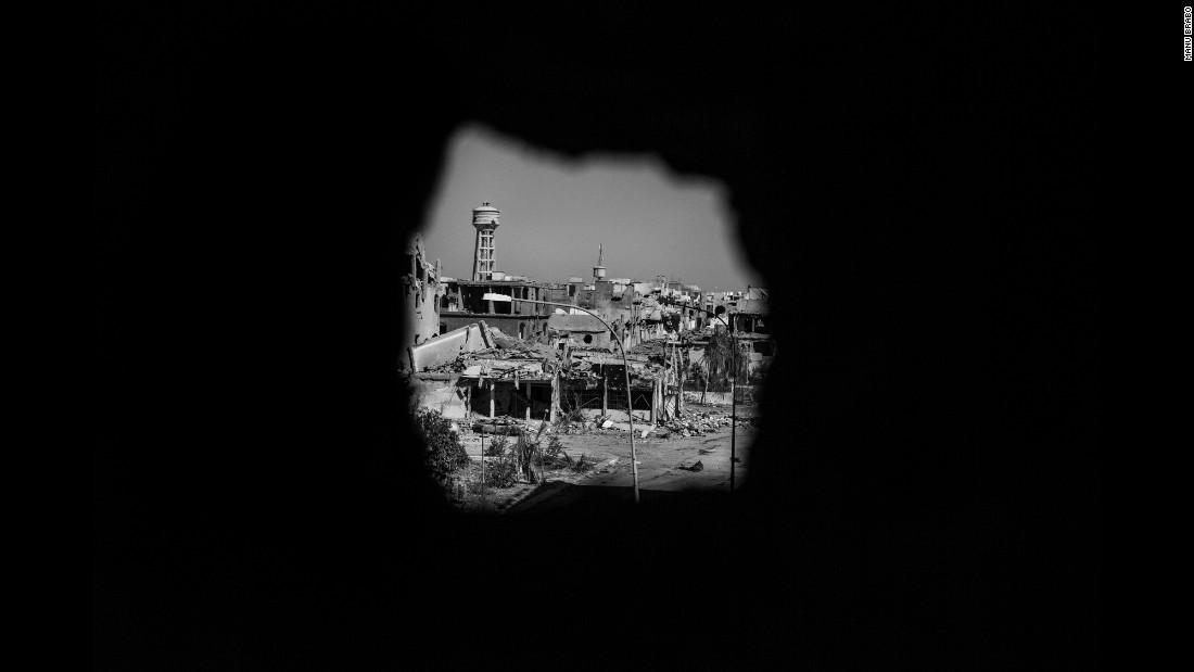 A view through a sniper hole.