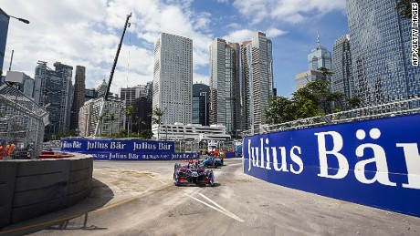 HONG KONG, CHINA - OCTOBER 9: In this handout image supplied by Formula E, Maro Engel (GER), Venturi, Spark-Venturi, Venturi VM200-FE-02 during the FIA Formula E Championship Hong Kong ePrix at the Central Harbourfront Circuit on October 9, 2016 in Hong Kong, China. (Photo by LAT Photographic / Formula E via Getty Images)