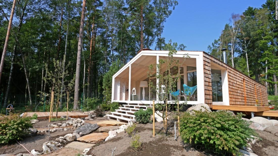 These modular cabins are fabricated just outside of Moscow and made entirely out of wood.