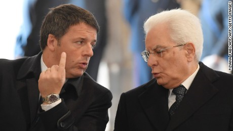 Renzi, left, met with President Sergio Mattarella Monday.